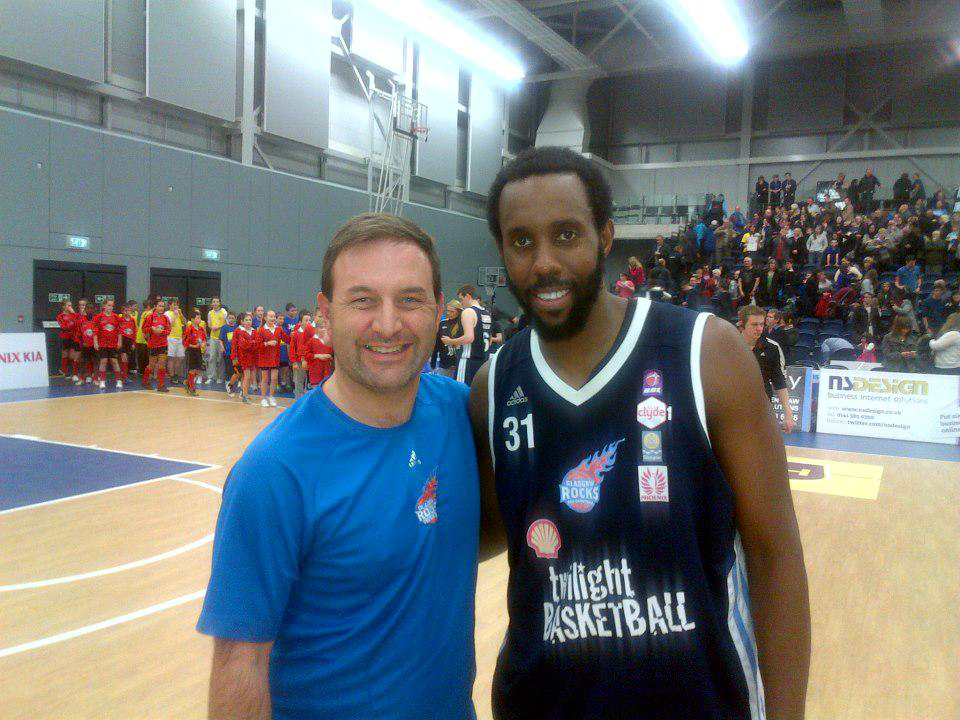 Alan Rankin with a player from Glasgow Rocks basketball team.